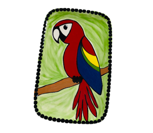 Fort Collins Scarlet Macaw Plate
